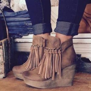 Sbicca bootie with fringe detail